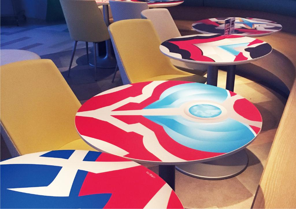サンシャイン展望台 ウルトラ×Vリーグ 50年記念展 カフェ装飾 テーブルラッピング